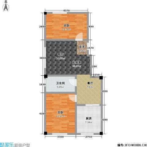 鹏辉裕景轩2室0厅1卫1厨69.00㎡户型图