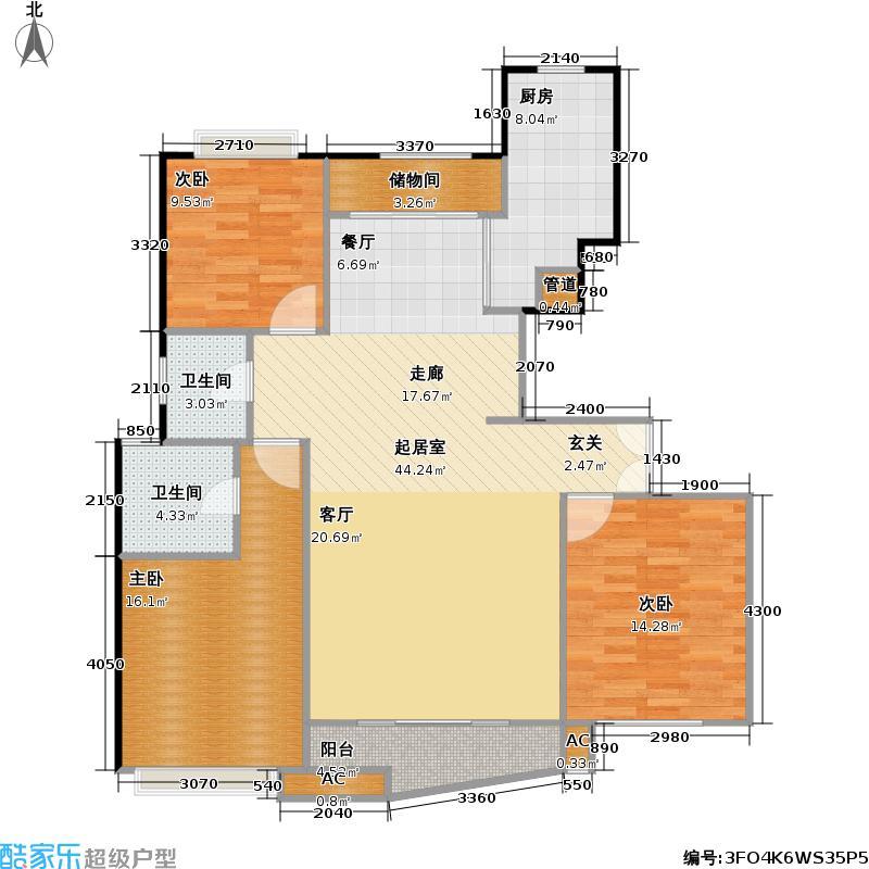 大上海国际花园一期未命名户型3室2卫1厨