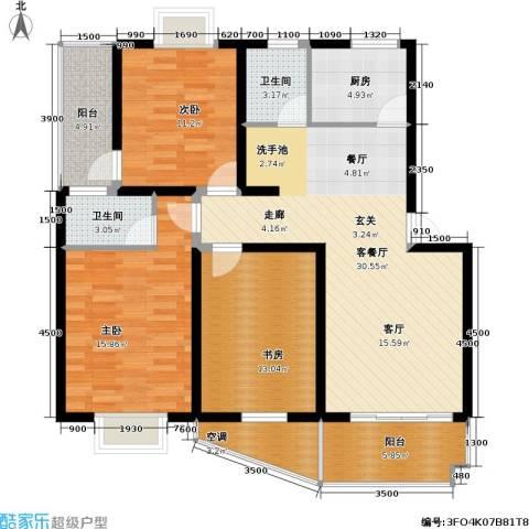 星河枫园3室1厅2卫1厨112.00㎡户型图