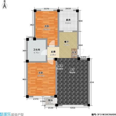 鹏辉裕景轩2室0厅1卫1厨88.00㎡户型图