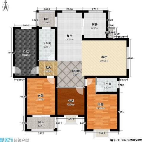 锦绣花园3室1厅2卫1厨136.00㎡户型图