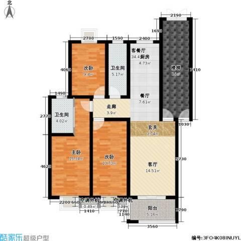锦绣花园3室1厅2卫0厨117.00㎡户型图