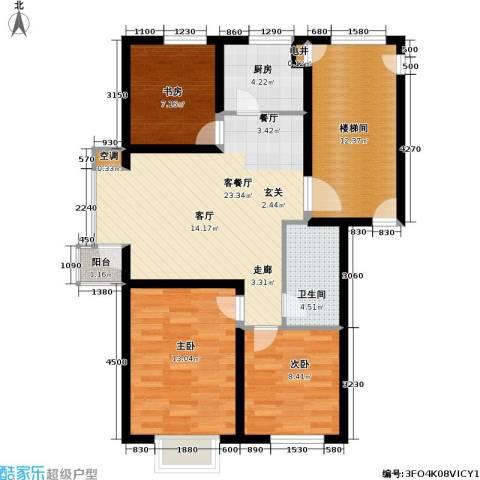 北美家园一期3室1厅1卫1厨74.66㎡户型图