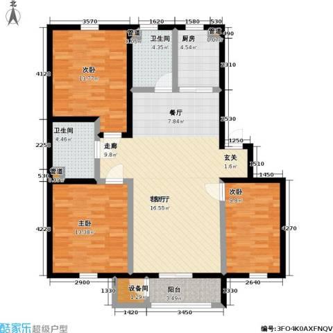 雅馨苑二期3室1厅2卫1厨105.64㎡户型图