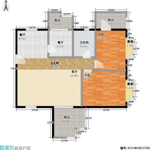 时代华庭2室2厅1卫0厨109.00㎡户型图