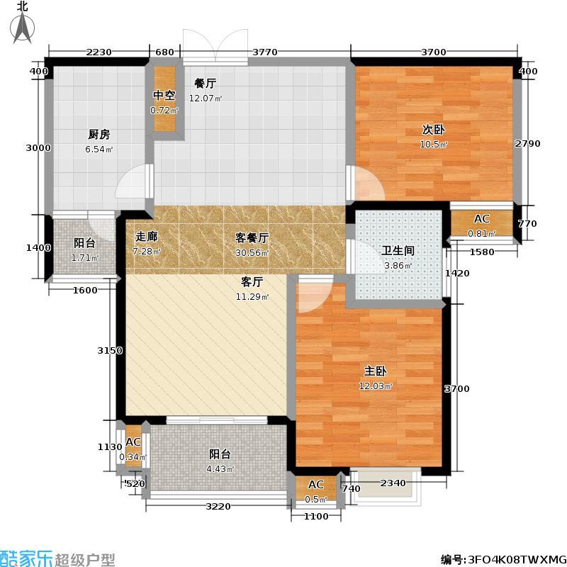 紫菘枫林上城户型2室1厅1卫1厨