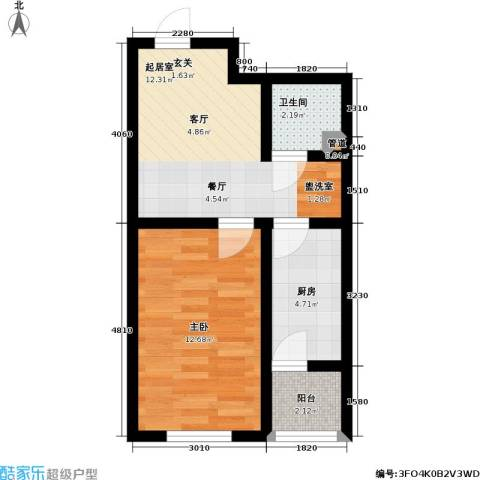雅馨苑二期1室0厅1卫1厨51.00㎡户型图