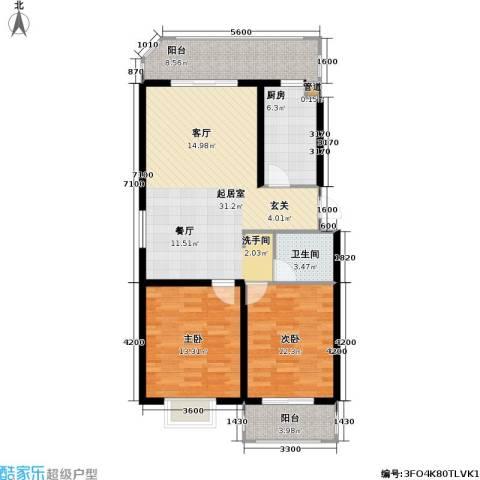 花溪里2室0厅1卫1厨99.00㎡户型图