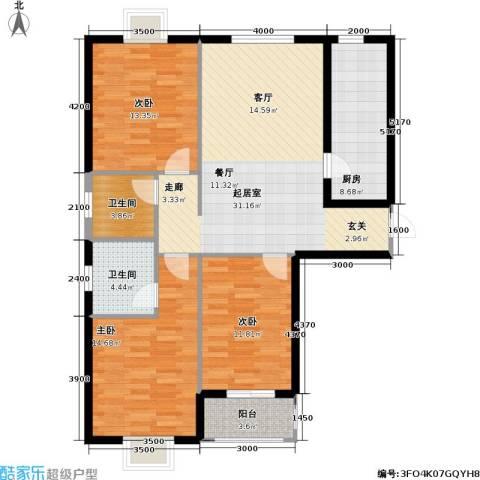 花溪里3室0厅2卫1厨123.00㎡户型图