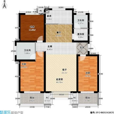 翡翠城3室0厅2卫1厨124.00㎡户型图