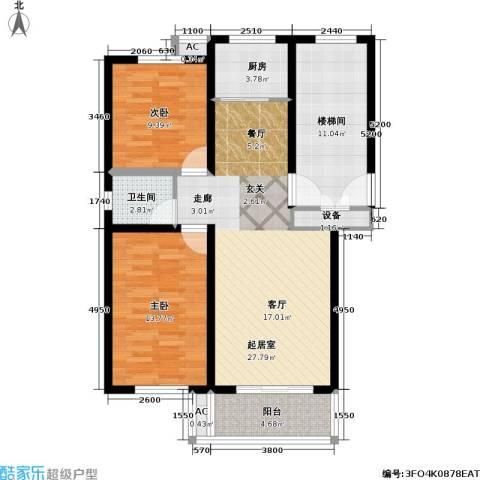 翡翠城2室0厅1卫1厨87.00㎡户型图