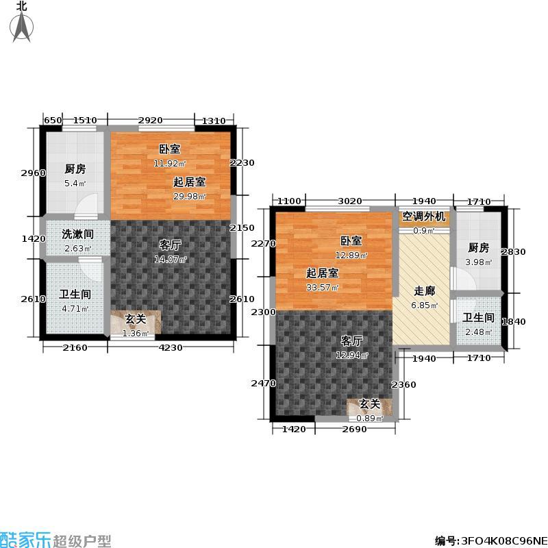 力宝水岸公寓、力宝前城30.00㎡4648户型