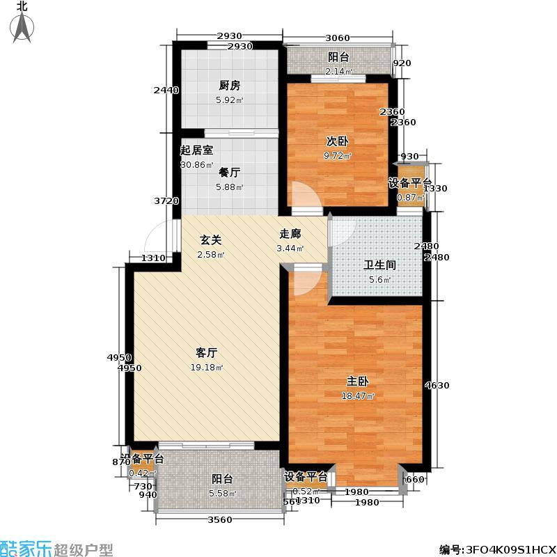 中天品苑92.00㎡房型户型
