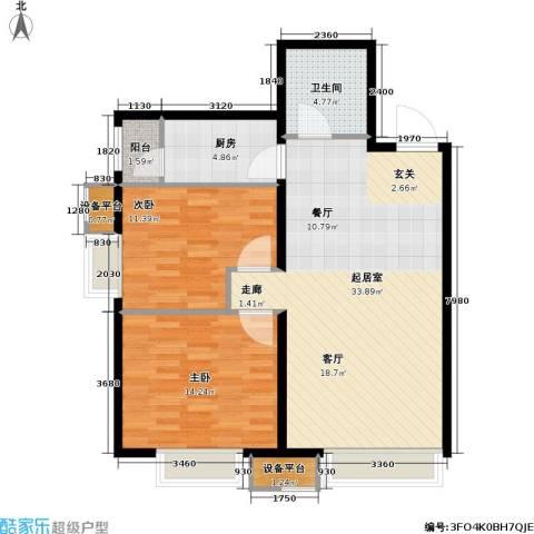 第一城D组团2室0厅1卫1厨81.00㎡户型图