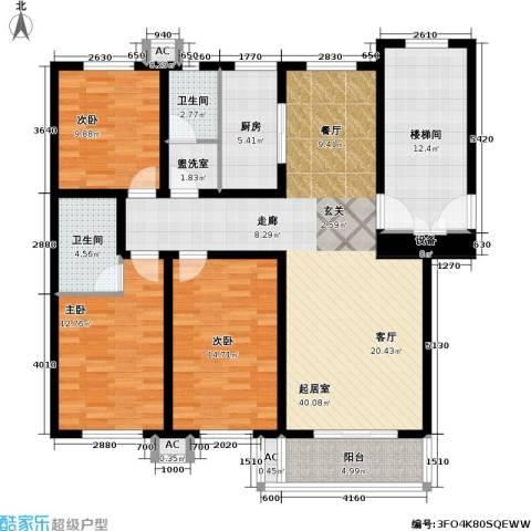 翡翠城3室0厅2卫1厨129.00㎡户型图