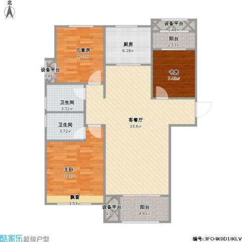 红石原著小区3室1厅2卫1厨121.00㎡户型图