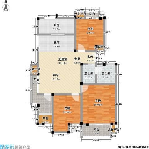 美达浅草明苑3室0厅2卫1厨103.00㎡户型图