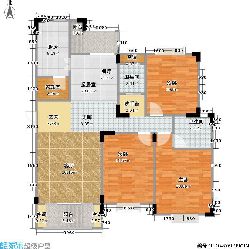 金马郦城户型3室2卫1厨