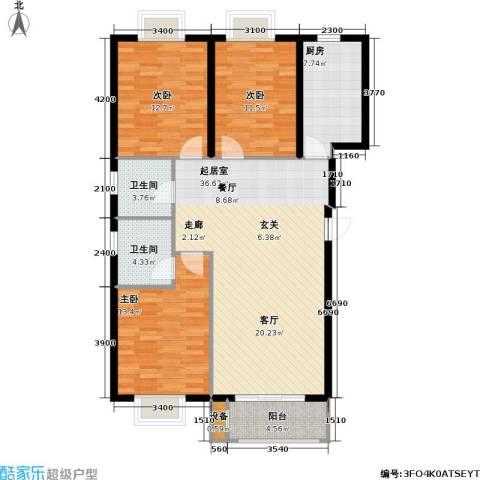 花溪里3室0厅2卫1厨125.00㎡户型图