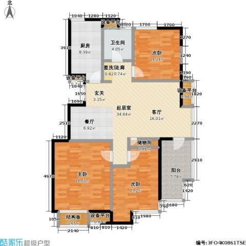 美达浅草明苑3室0厅1卫1厨146.00㎡户型图