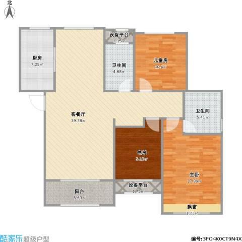 红石原著小区3室1厅2卫1厨138.00㎡户型图