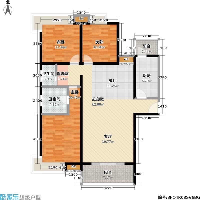 七星雪香花园129.00㎡房型户型