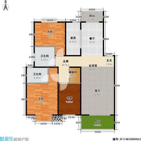 湖岸名家3室0厅2卫1厨139.00㎡户型图