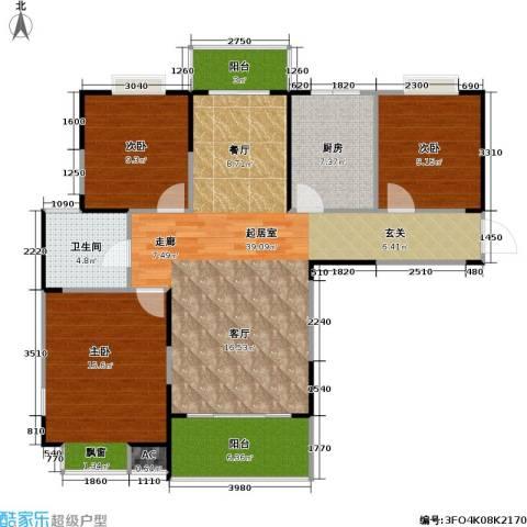 湖岸名家3室0厅1卫1厨128.00㎡户型图