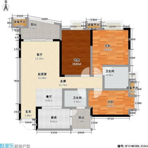 保利・康桥3室0厅2卫1厨92.00㎡户型图