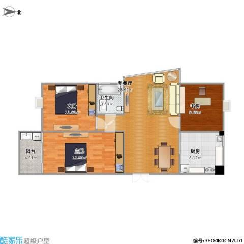 芳草园3室1厅1卫1厨134.00㎡户型图