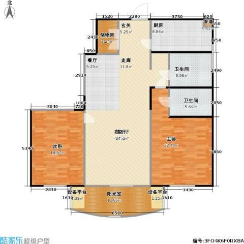 静安鼎鑫佳园2室1厅2卫1厨136.00㎡户型图