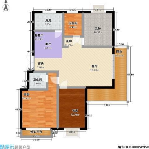 碧水云天3室1厅2卫1厨103.00㎡户型图