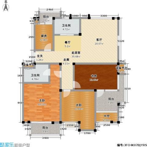 美达浅草明苑3室0厅2卫1厨113.40㎡户型图