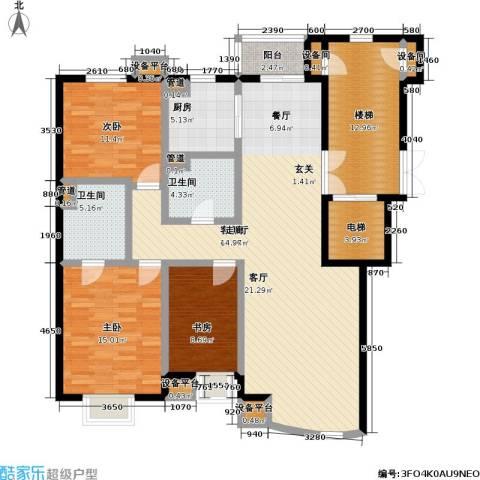 高校建赏欧洲3室1厅2卫1厨125.00㎡户型图