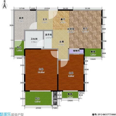 湖岸名家2室0厅1卫1厨99.00㎡户型图