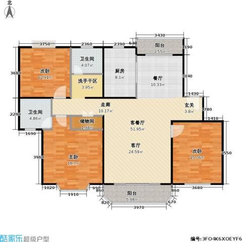 华亭荣园一期3室1厅2卫1厨171.00㎡户型图
