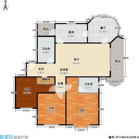 华亭荣园一期3室1厅2卫1厨172.00㎡户型图