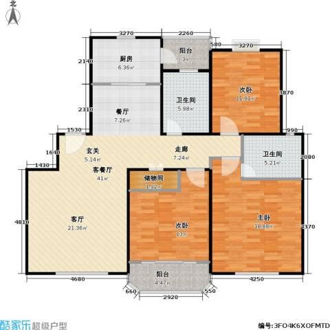 华亭荣园一期3室1厅2卫1厨150.00㎡户型图