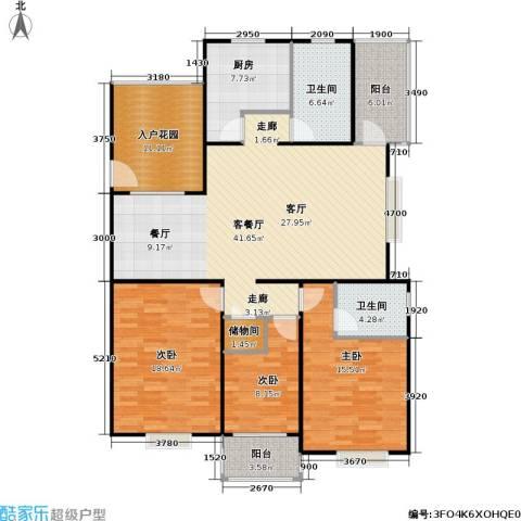 华亭荣园一期3室1厅2卫1厨130.00㎡户型图