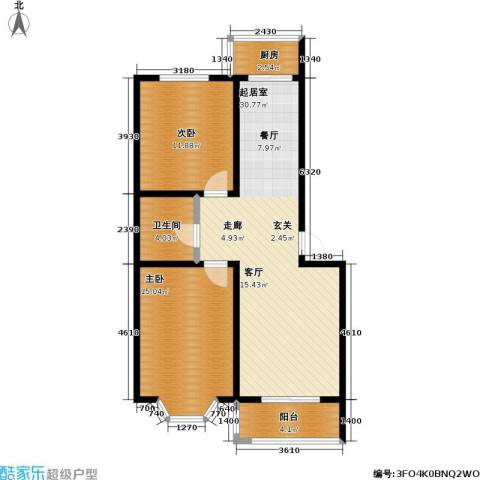 水木康桥二期2室0厅1卫1厨96.00㎡户型图