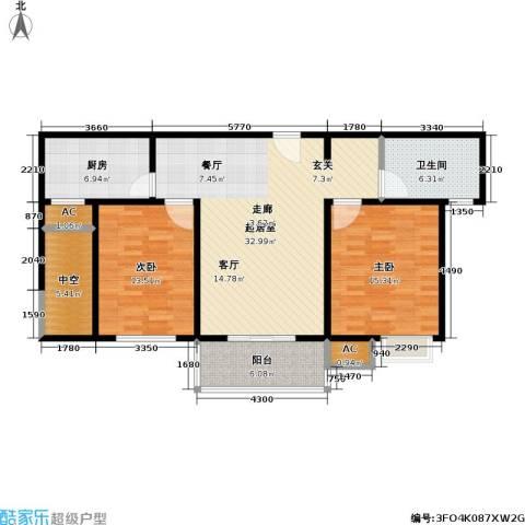 石湖华城三期 华城豪庭2室0厅1卫1厨100.00㎡户型图