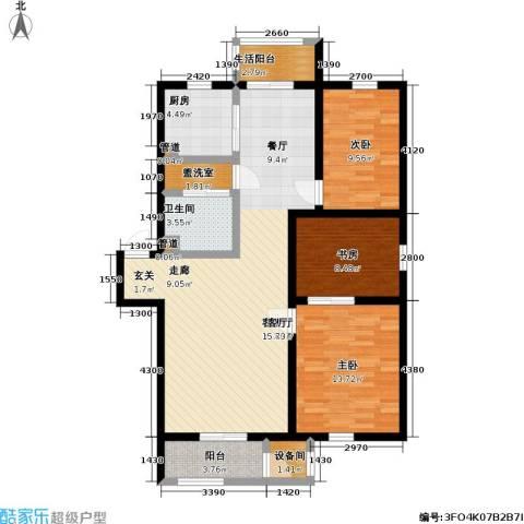 雅馨苑二期3室1厅1卫1厨100.47㎡户型图