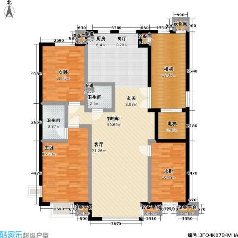 高校建赏欧洲3室1厅2卫0厨125.00㎡户型图