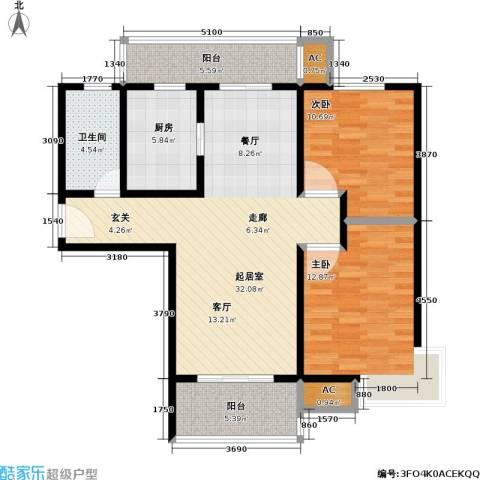 石湖华城三期 华城豪庭2室0厅1卫1厨90.00㎡户型图