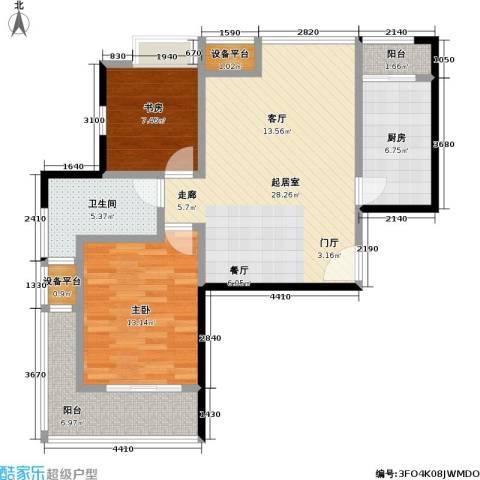 置地新唯花园2室0厅1卫1厨102.00㎡户型图