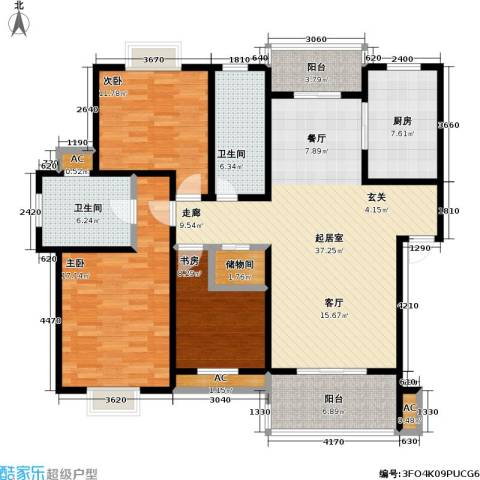 石湖华城三期 华城豪庭3室0厅2卫1厨125.00㎡户型图