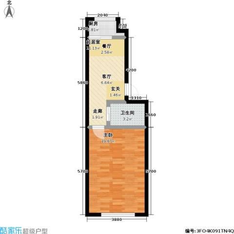南阳小区1室0厅1卫1厨52.00㎡户型图
