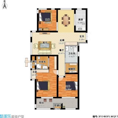 申达林与城3室1厅1卫1厨171.00㎡户型图