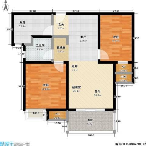 石湖华城三期 华城豪庭2室0厅1卫1厨76.00㎡户型图