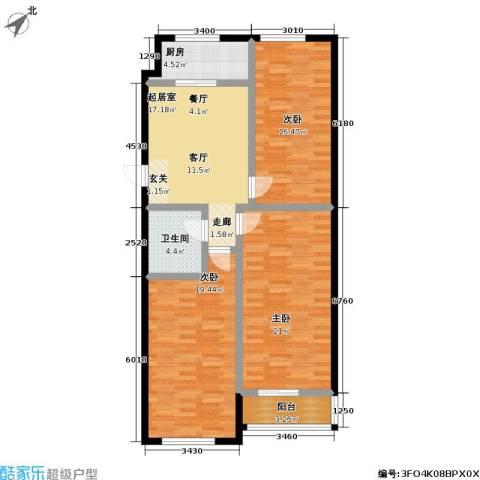 南阳小区3室0厅1卫1厨124.00㎡户型图